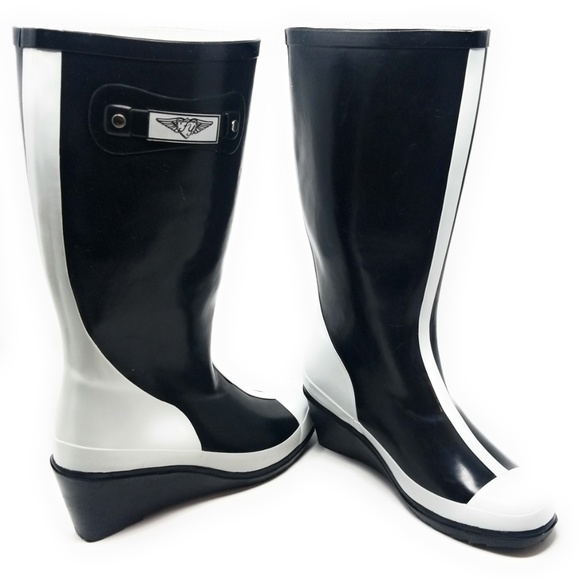 55ca79fde9c Women Black/White Rubber Wedge Rain Boots RB-6016 Boutique